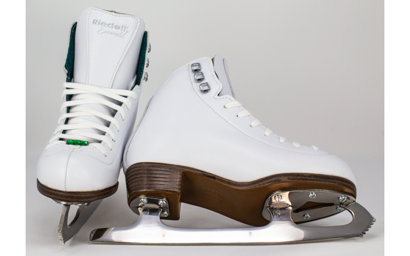 Womens Recreational Figure Ice Skates with Steel Luna Blade Riedell Skates 119 Emerald