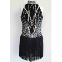 Elite Skate Wear Black Fringe Dress