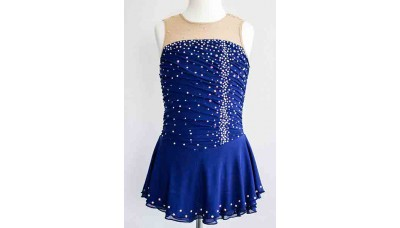 Elite Skate Wear Sleeveless Navy Competition Dress